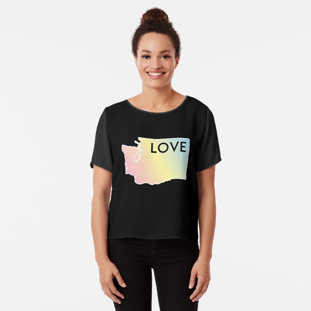 Pastel Rainbow Washington State Love Chiffon Top