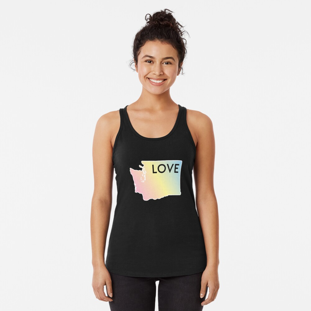 Pastel Rainbow Washington State Love Racerback Tank Top