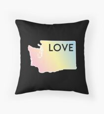 Pastel Rainbow Washington State Love Throw Pillow