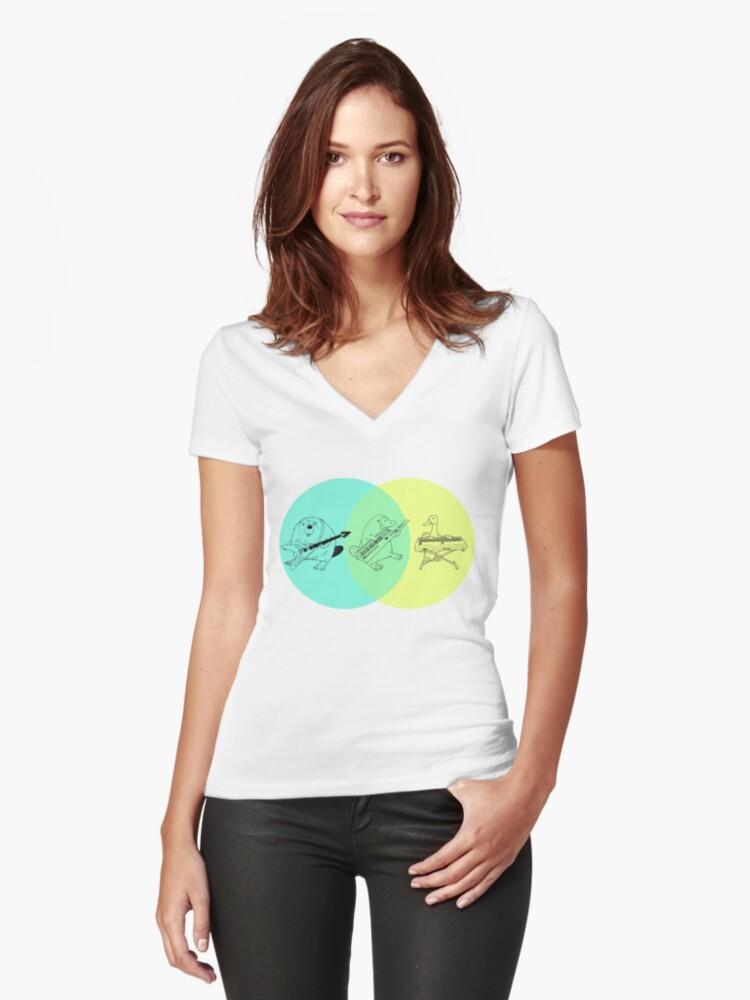 Keytar Platypus Venn Diagram Women's Fitted V-Neck T-Shirt Front
