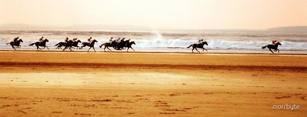 Beach races on Ballybunion beach in Ireland by morrbyte