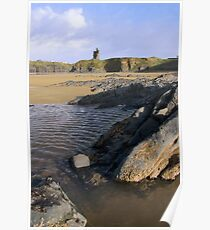 ballybunion castle on rocky cliff Poster