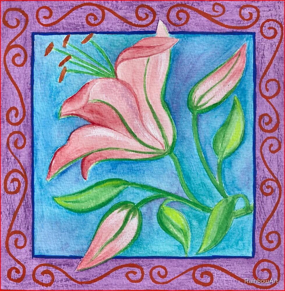 FLOWERTIME 2 - AQUAREL AND COLOR PENCILS by RainbowArt