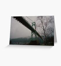 Foggy Evening, St. Johns Bridge Greeting Card