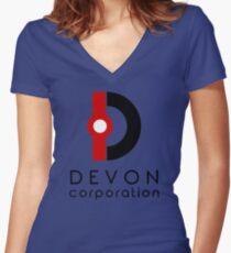 Devon Corporation Logo (in Black) Women's Fitted V-Neck T-Shirt
