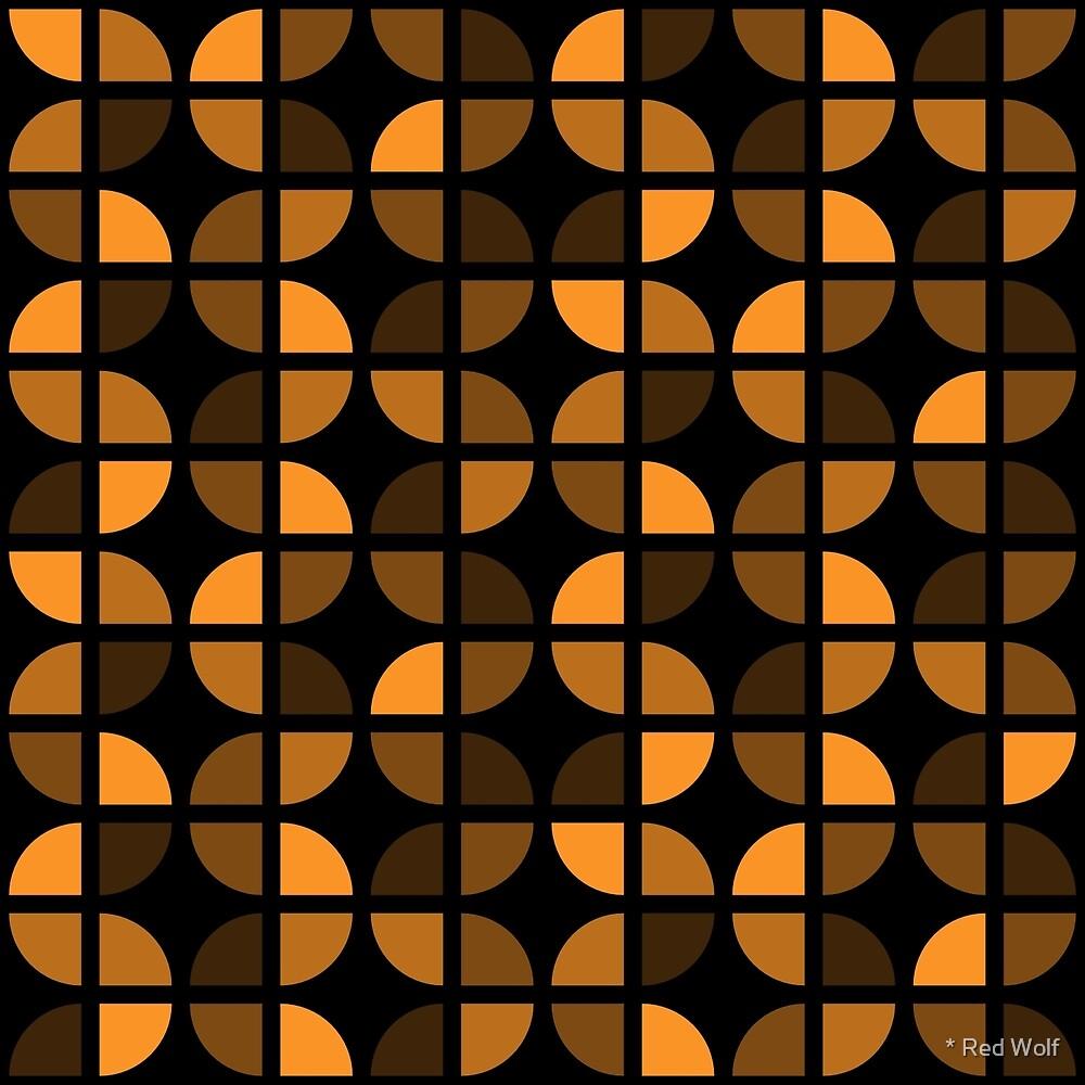 Geometric Pattern: Quarter Circle: Dark/Orange by * Red Wolf