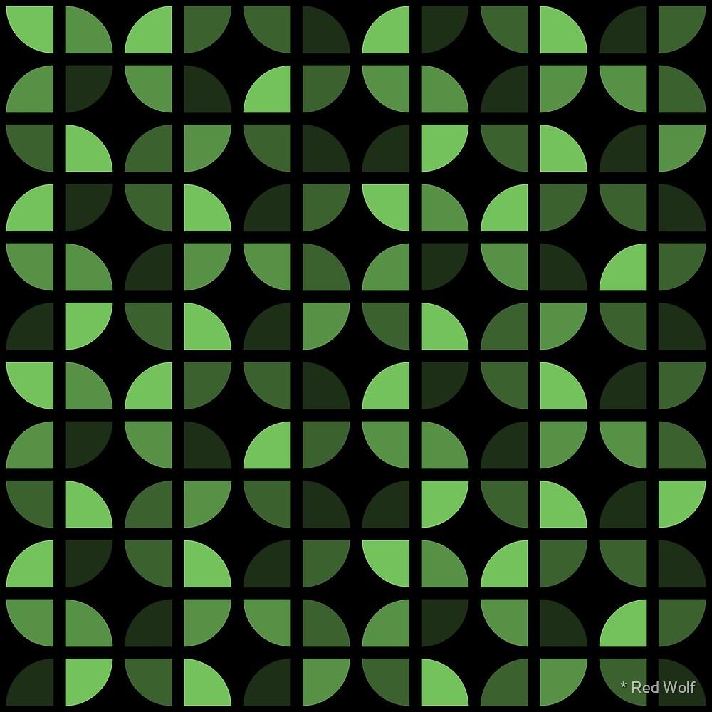 Geometric Pattern: Quarter Circle: Dark/Green by * Red Wolf