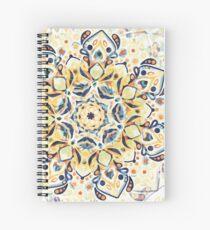 Stained Glass Mandala - Mustard Yellow & Navy  Spiral Notebook