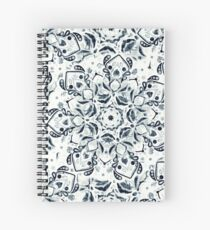 Stained Glass Mandala - Navy & White  Spiral Notebook