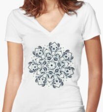 Stained Glass Mandala - Navy & White  Fitted V-Neck T-Shirt