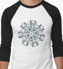 Stained Glass Mandala - Navy & White  Baseball ¾ Sleeve T-Shirt