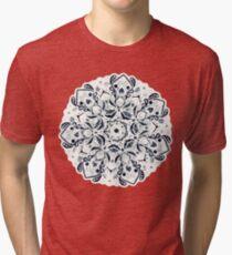 Stained Glass Mandala - Navy & White  Tri-blend T-Shirt