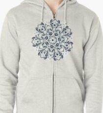 Stained Glass Mandala - Navy & White  Zipped Hoodie