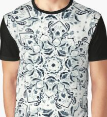 Stained Glass Mandala - Navy & White  Graphic T-Shirt