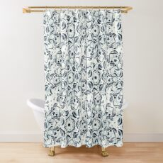 Stained Glass Mandala - Navy & White  Shower Curtain