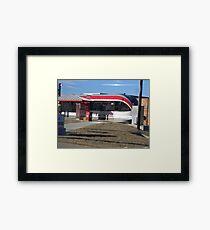 Austin's New Metrorail - Red Blur, Silver Streak Framed Print