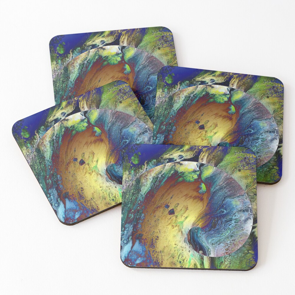 New Year's Eve - fluid acrylic painting, digital art Coasters (Set of 4)
