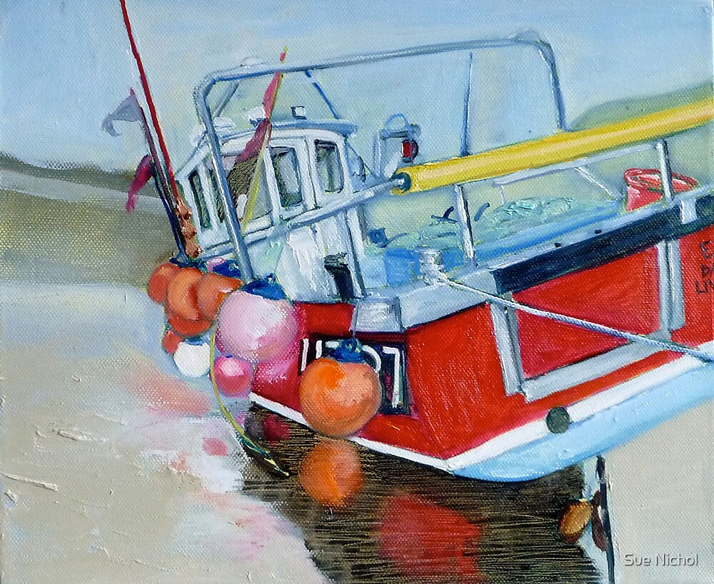 Early Dawn, Fishing Boat, Staithes by Sue Nichol