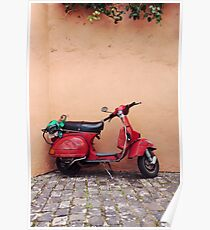 Retro red Scooter Poster