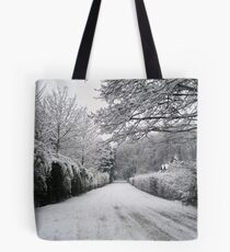Snow covered road- Walton, Warrington Tote Bag