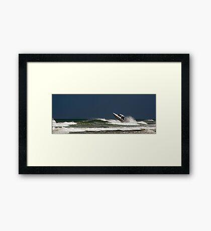 Very crazy or very experienced??  - Baylys Beach NZ Framed Print