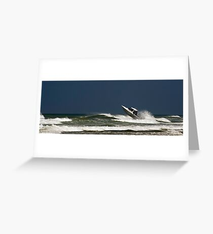 Very crazy or very experienced??  - Baylys Beach NZ Greeting Card
