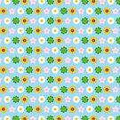 Kawaii Spring Flowers (Blue) by Marceline Smith