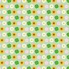 Kawaii Spring Flowers (Green) by Marceline Smith