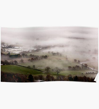 Mist gathering in the Severn valley near Malvern Poster