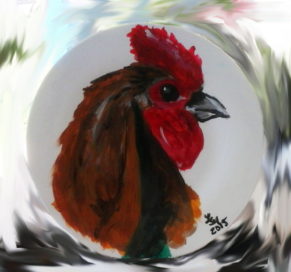 Rooster Plate 2 by Loretta Nash