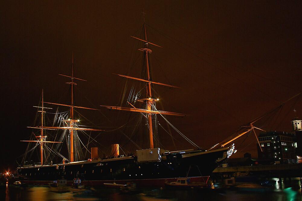 HMS Warrior at Night by Dave Godden