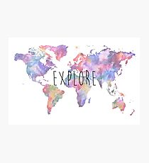 World Map Watercolour Explore Photographic Print