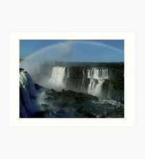 rainbow over Iguassu Falls Art Print
