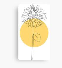 Yellow One line sunflower Canvas Print