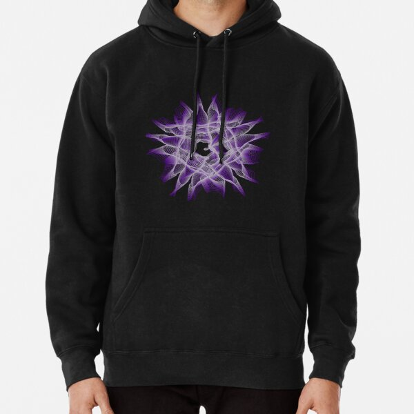 Abstract Violet Spiral Lines Pullover Hoodie