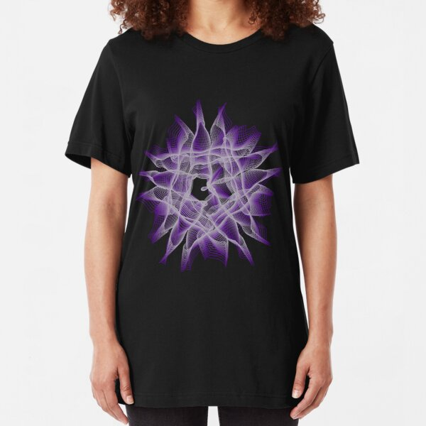 Abstract Violet Spiral Lines Slim Fit T-Shirt