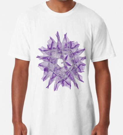 Abstract Violet Spiral Lines Long T-Shirt