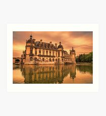 France. Chantilly. Château de Chantilly. Sunset. Art Print