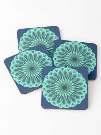 Spirograph in seagreen Coasters