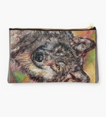 Portrait of a Gray Wolf Studio Pouch