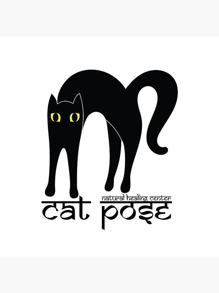 Cat Pose 1 - Cat Yoga (black text) by NaturalHealing