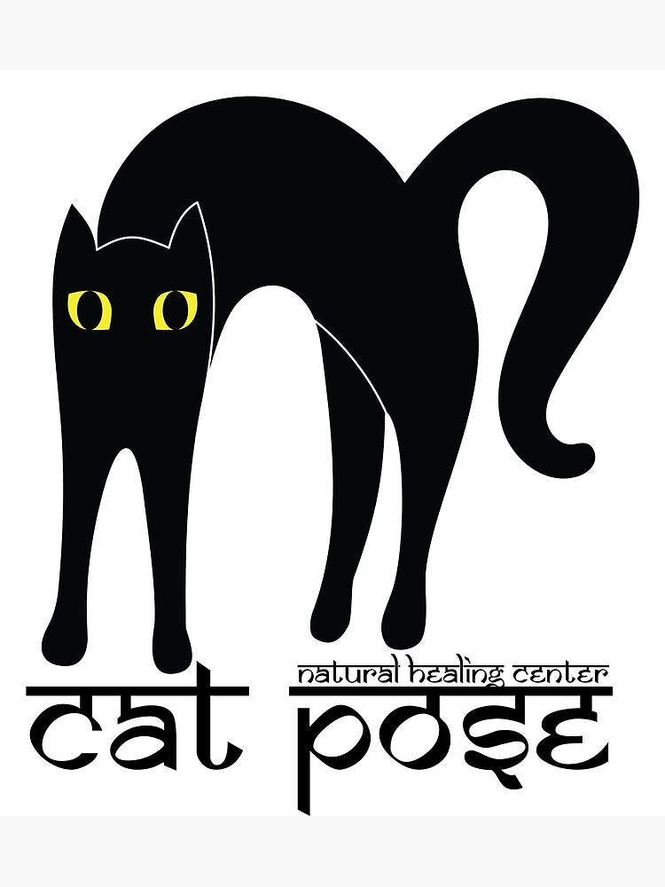 Cat Pose 1 - Cat Yoga (black text) by NaturalHealing