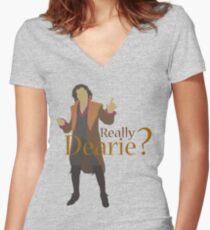 Rumplestiltskin - Really Dearie? Women's Fitted V-Neck T-Shirt