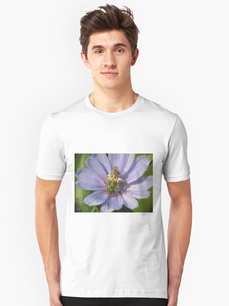 Green Metalic Bee and A Wee Friend on Chickory Flower Unisex T-Shirt Front