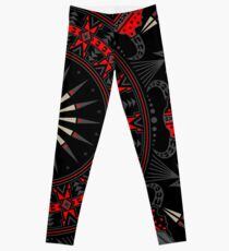 Buffalo Skull and Feathers (Red) Leggings