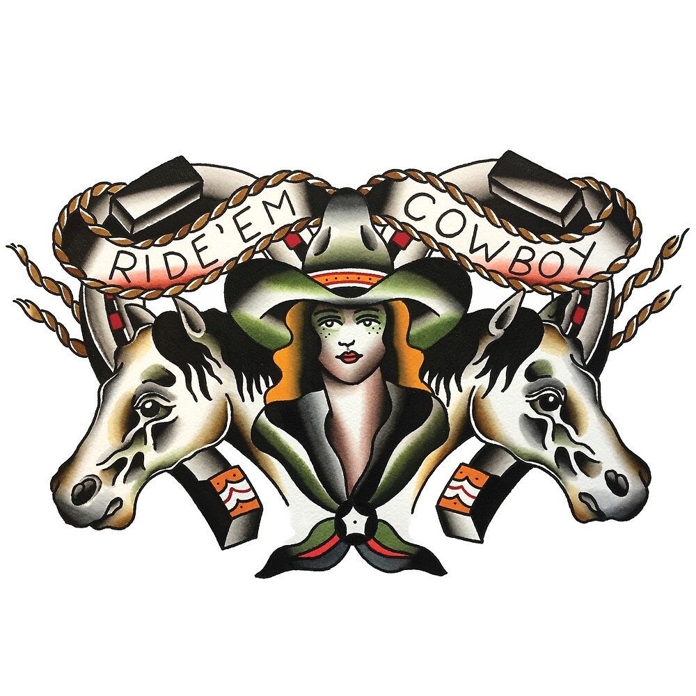 Traditional Ride 'Em Cowboy Tattoo Design by FOREVER TRUE TATTOO