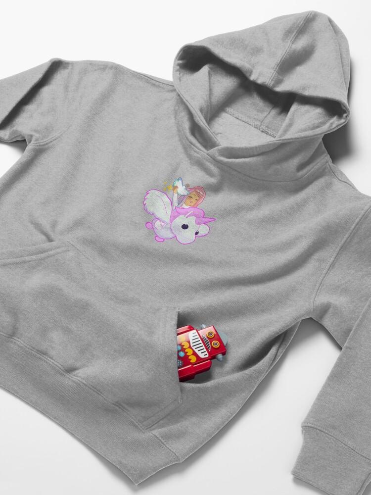 Alternate view of Adopt Me - Pink Flying Unicorn Kids Pullover Hoodie