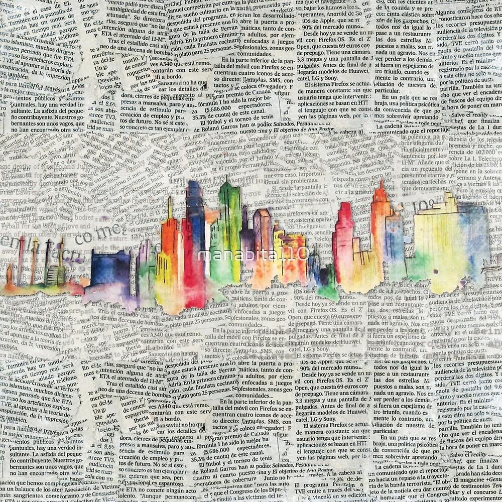 Watercolor Skyline 1 by manabita110