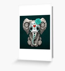 Teal Blue Day of the Dead Sugar Skull Baby Elephant Greeting Card