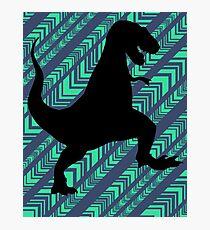 Tyrannosaurus Rex Dinosaur Chevron Photographic Print